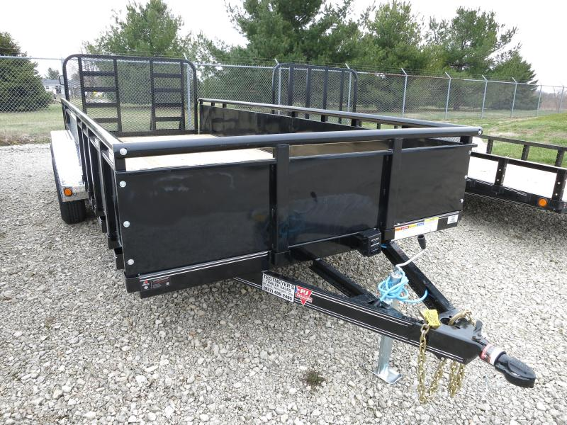 "PJ Trailers 7' x 18' Utility Trailer w/ HD Fold Up Gate and 22"" Metal Side"