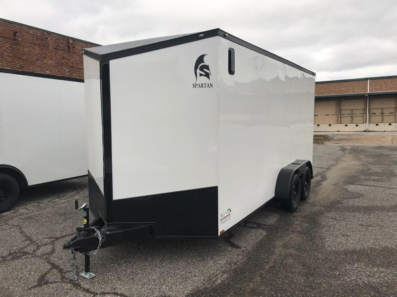 2020 Spartan 7 x 16 x 7  White/Black out Enclosed Cargo Trailer