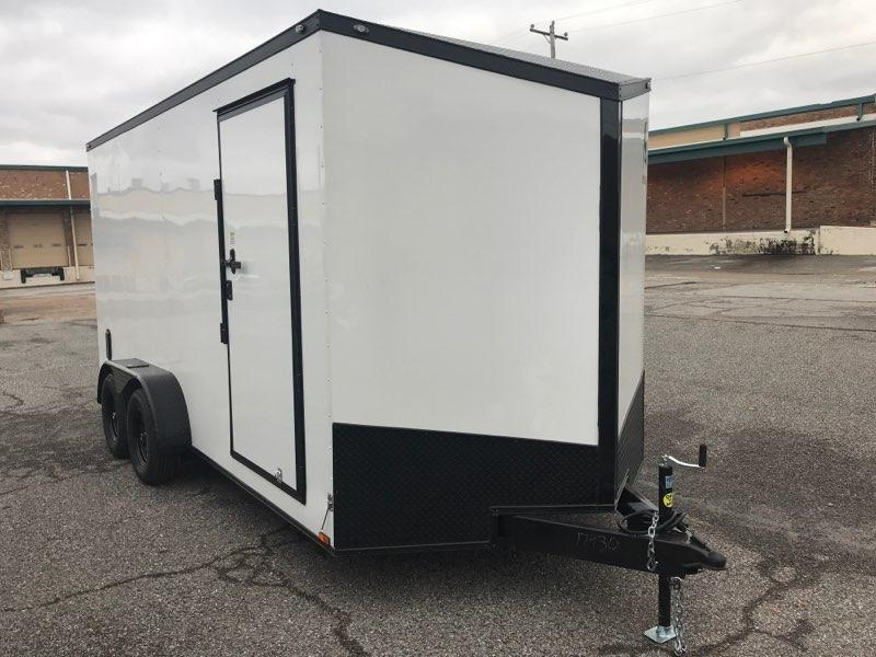 2020 Spartan 7 x 16 x 7  White/Black out Enclosed Cargo Trailer
