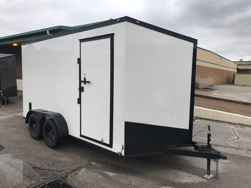 2020 Spartan 7 x 14 x 7  White/Black out Enclosed Cargo Trailer
