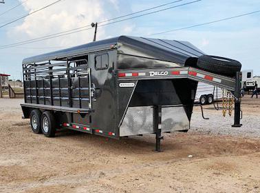 2020 Charcoal Delco 20' Livestock Trailer