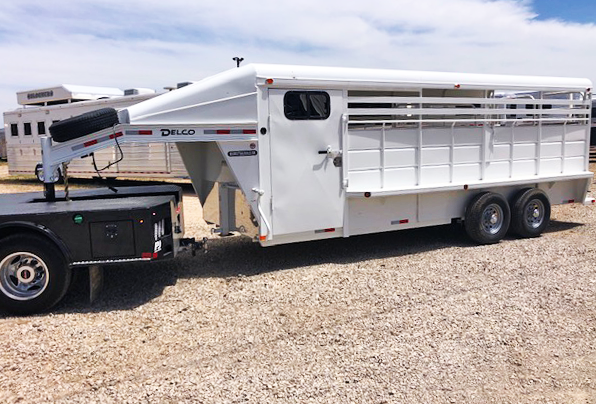 2020 White Delco 20' Double Side Tack Stock Trailer