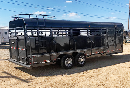 2020 Black Delco Stock Trailer with Smart Tack