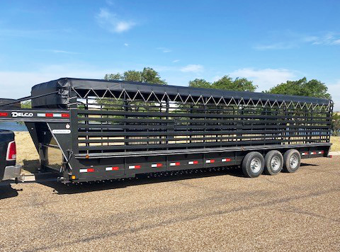 2020 Charcoal 32' Delco Canvas Top Stock Trailer