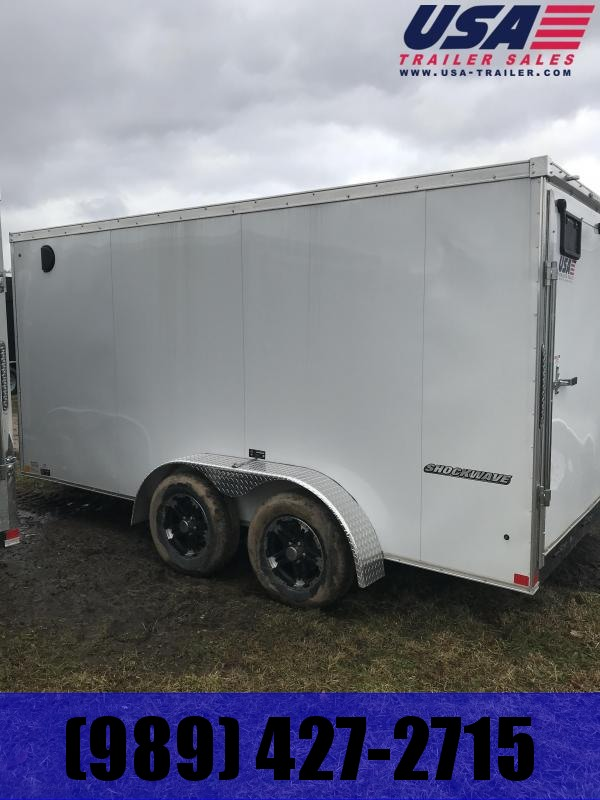 2019 Impact Trailers 7x14 White Ramp Enclosed
