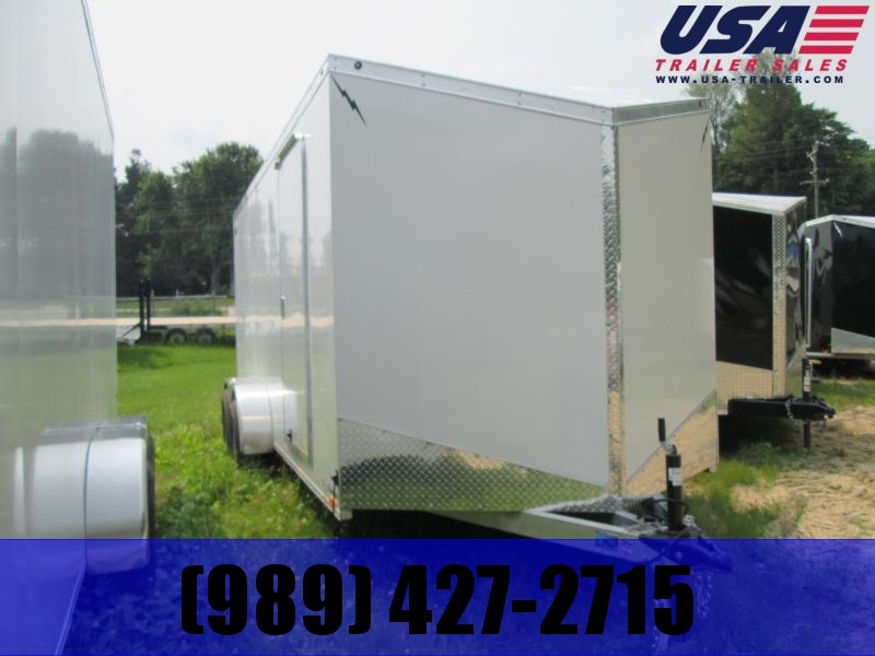 2019 Lightning Trailers 7x14 White Ramp Enclosed Cargo Trailer