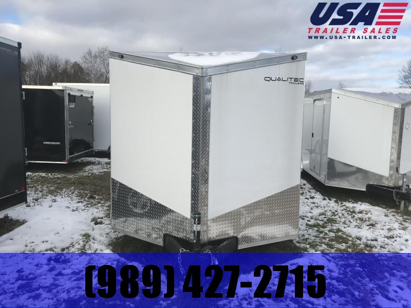 2019 Qualitec 7x16 White Ramp Enclosed Cargo Trailer
