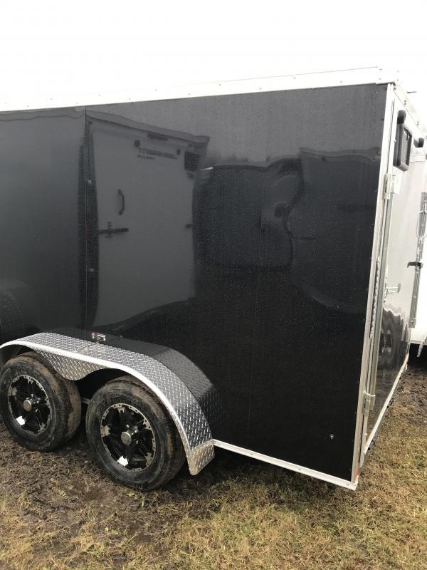 2020 Qualitec 7x14 Black Barn Doors Cargo Trailer