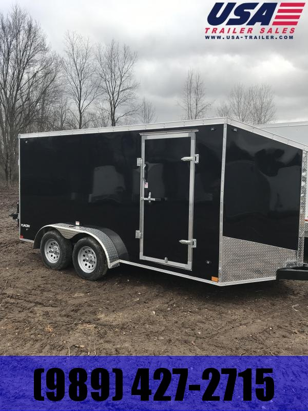 2020 Qualitec 7x14 Black Barn Doors Cargo Trailer