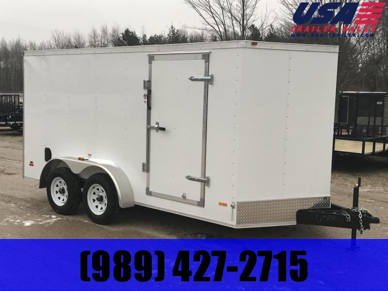 2019 MTI Trailers 7 x 14 White Barn Doors USA Enclosed Cargo Trailer