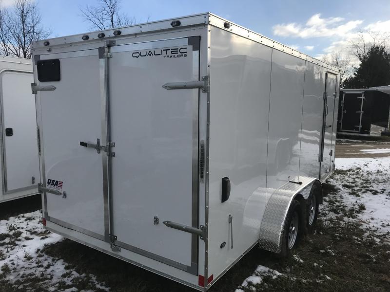 2019 Qualitec 7x16 White Barn Enclosed Cargo Trailer