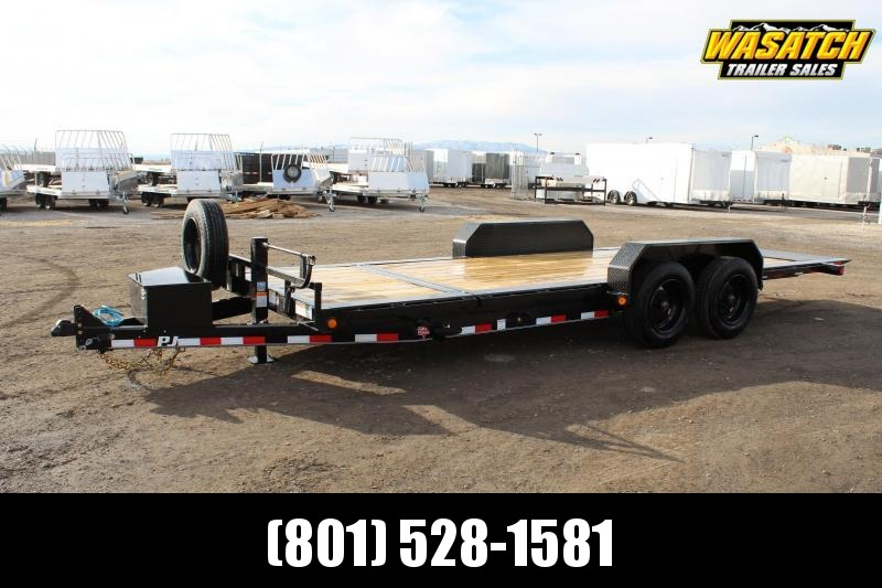 "PJ Trailers 7x20 HD Equipment Tilt 6"" Channel (TJ) Equipment Trailer w/ 17.5 Tire Steel Wheel"