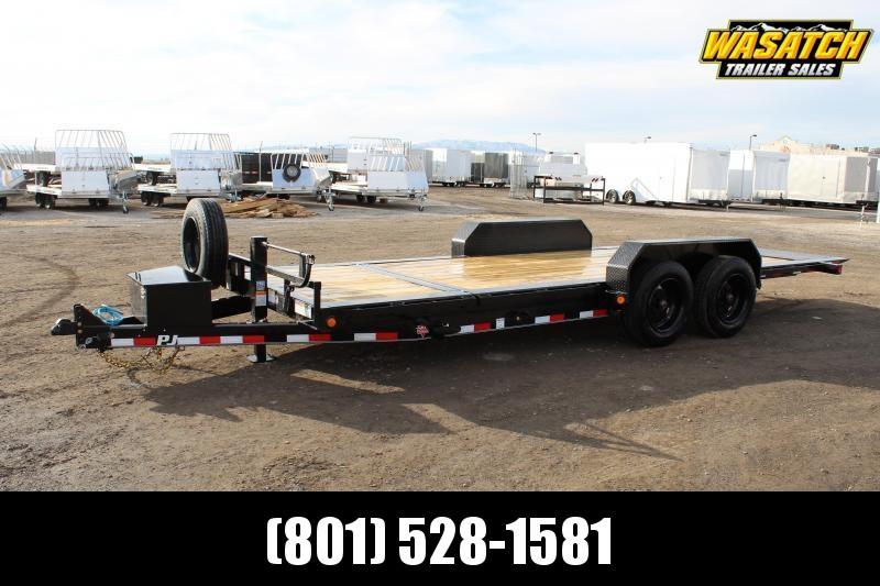 """PJ Trailers 7x20 HD Equipment Tilt 6"""" Channel (TJ) Equipment Trailer w/ 17.5 Tire Steel Wheel"""