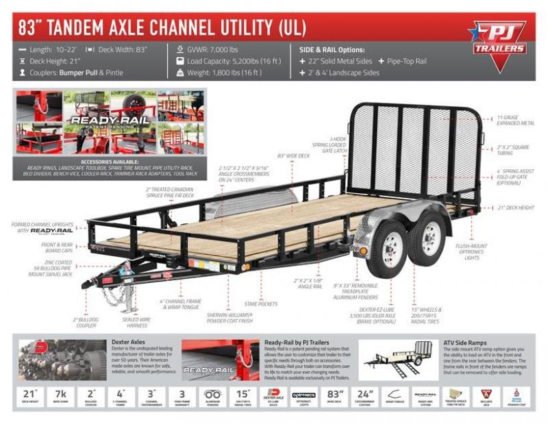 2020 PJ Trailers 14 ft x 83 in. Tandem Axle Channel Utility (UL) Utility Trailer
