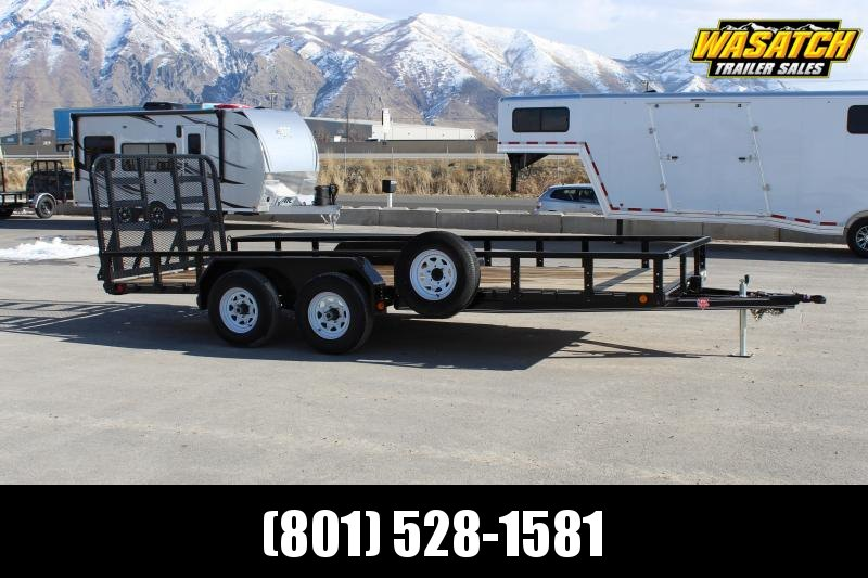 PJ Trailers 7x18 Tandem Axle Channel (UL) Utility Trailer w/ Heavy Duty Gate