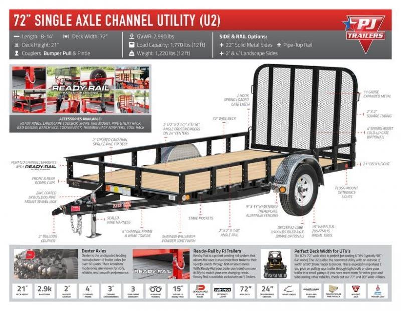 2020 PJ Trailers 12ft - 72 in. Single Axle Channel Utility (U2) Utility Trailer