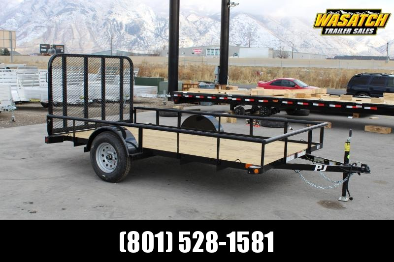 "PJ Trailers 77""x12' Single Axle Angle (E7) Utility Trailer"