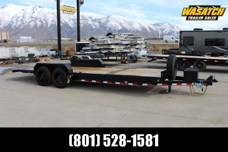 """PJ Trailers 7x22 HD Equipment Tilt 6"""" Channel (TJ) Equipment Trailer w/ 17.5 Tire Solid Steel Wheel"""