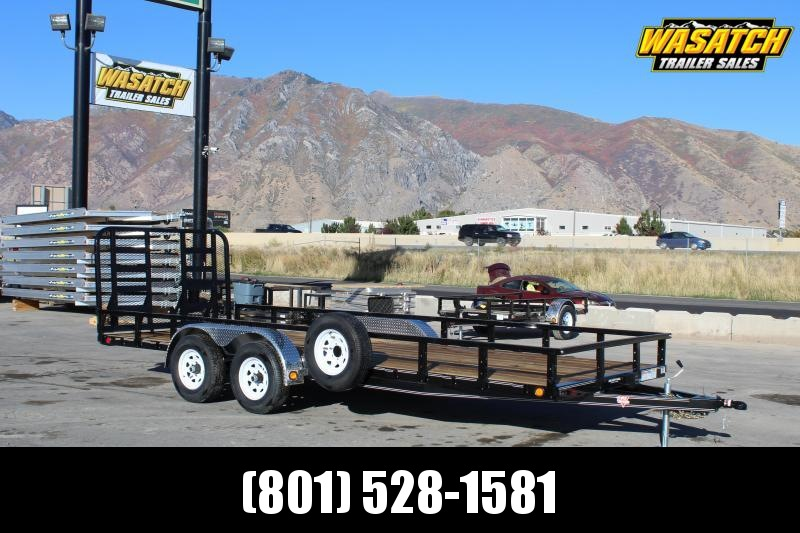 "PJ Trailers 7x20 Tandem Axle Channel (UL) Utility w/ 12"" Expanded Metal Sides"