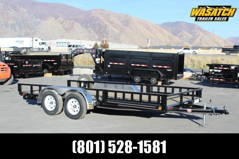 PJ Trailers 7x16 Tandem Axle Channel (UL) Utility w/ ATV Side Ramps
