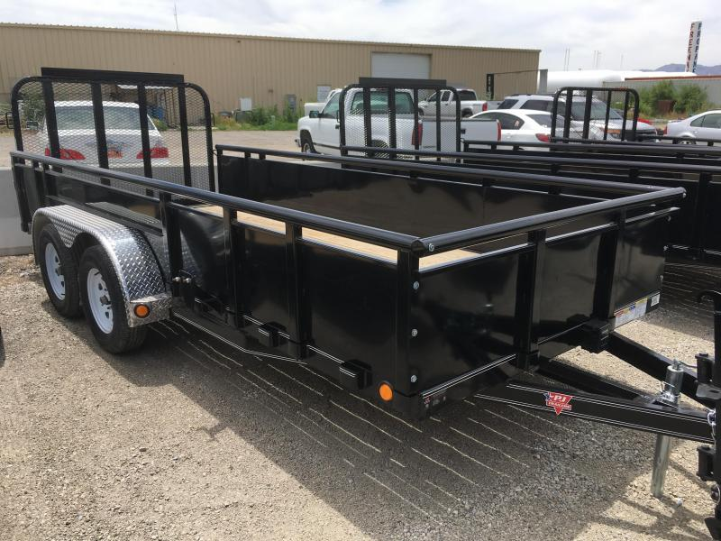 Pj Trailers 6.5x16 Tandem Axle Channel (UK) Utility w/ 2' High Sides