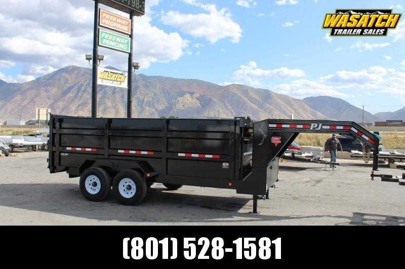 PJ Trailers 7x16 Low-Pro High Side (DM) Dump Trailer w/ 4' High Sides