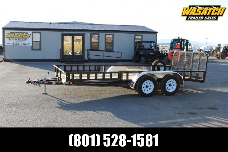 PJ Trailers 7x16 Tandem Axle Channel Utility (UL) Utility w/ ATV Side Ramps