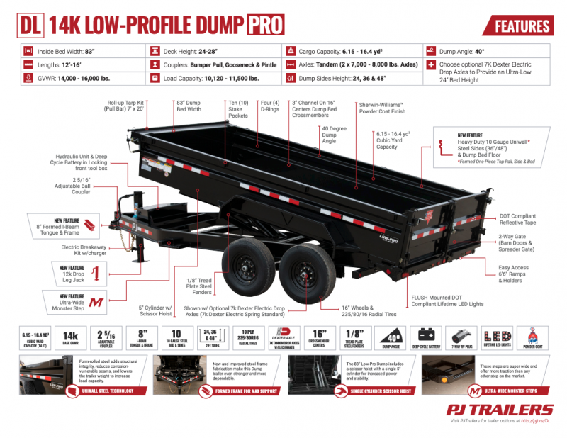 PJ 7x16 Low Pro Dump (DL) w 2' Extensions
