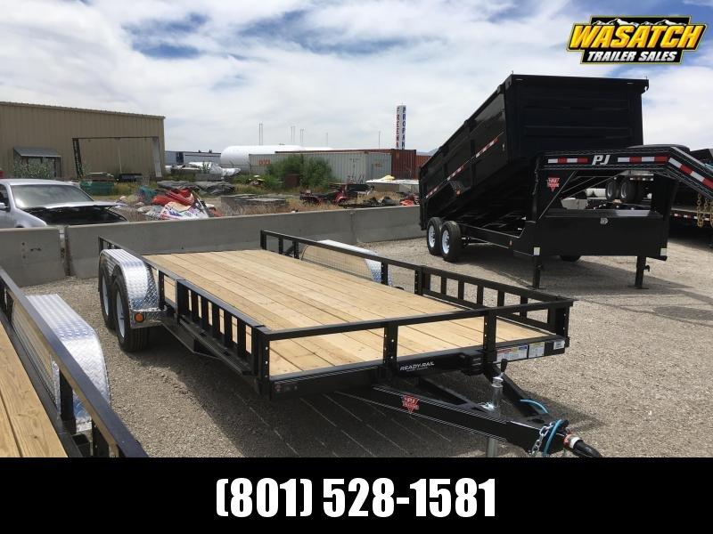 PJ Trailers 7x18 Tandem Axle Channel (UL) Utility w/ ATV Side Ramps