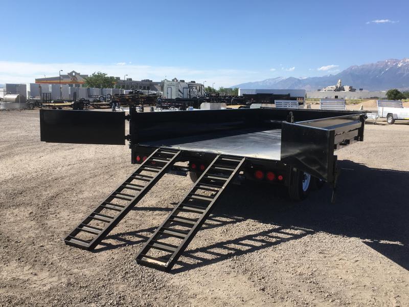 "PJ Trailers 8x14 Deckover (D8) Dump 18"" Fold Down High Sides"