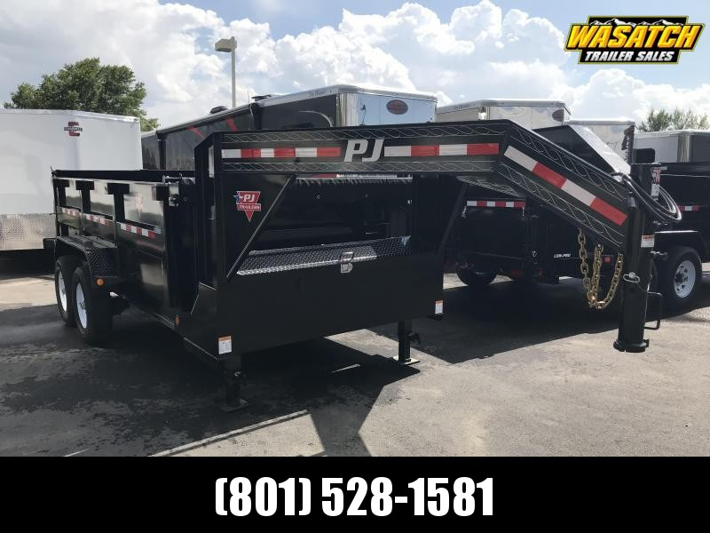 PJ Trailers 7x14 Low-Pro High Side (DM) Dump Trailer w/ 3' High Sides