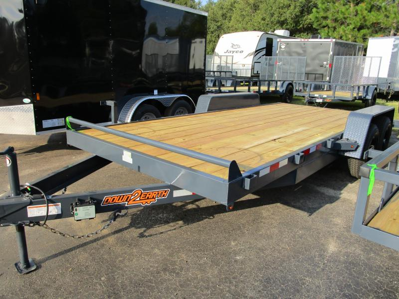 NEW 18' 10K Car Trailer Gray with Black rims LED Lights