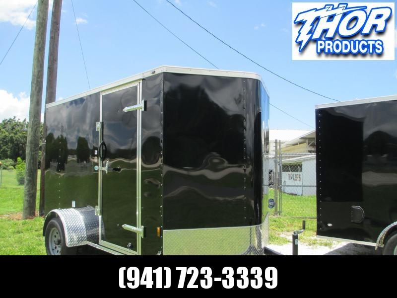 NEW 6X10 .030 BLACK Cargo Trailer w/side door and rear RAMP door