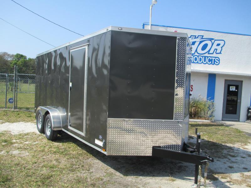"NEW 7X14 TA Enclosed Trailer Charcoal Ramp Radials 6'6"" ht"