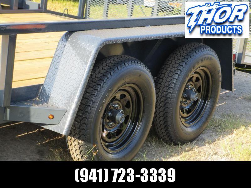 "NEW 6'10"" x 16' TA Utility Trailer Tube top 2ft dovetail GRAY Black wheels W/RADIAL TIRES"