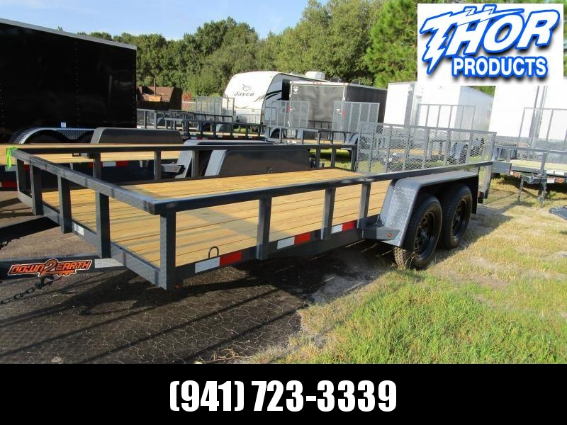 "NEW 6'10"" x 16' TA Utility Trailer Tube top 2ft dovetail GRAY Black wheels W/RADIAL TIRES"