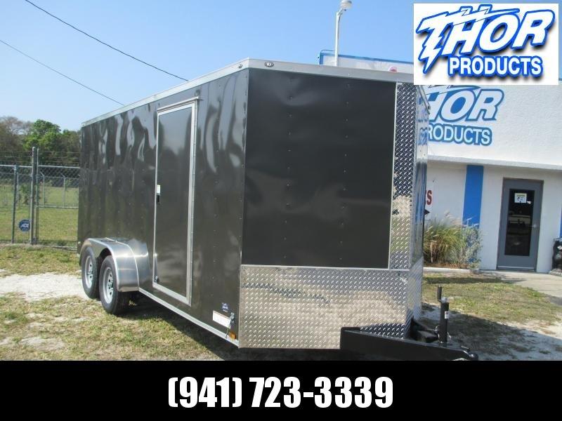 NEW 7 x 16 TA Enclosed Trailer V-nose CHARCOAL Ramp 7' INTERIOR HEIGHT!! UTV GOLF CART HAULER