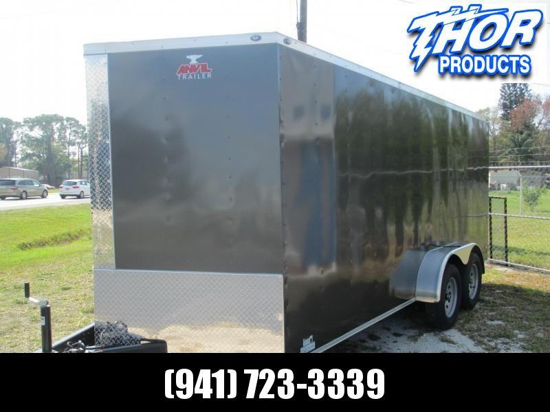 NEW 7 x 16 TA Enclosed Trailer V-nose CHARCOAL Ramp 7' INTERIOR HEIGHT!! UTV GOLF CART HAULER