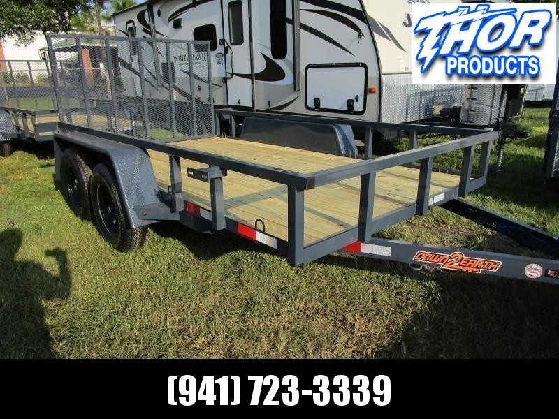 "6'4"" x 14 TA Utility Trailer W/2 axle brakes Ramp Tube Top GRAY LED Lights RADIAL TIRES"