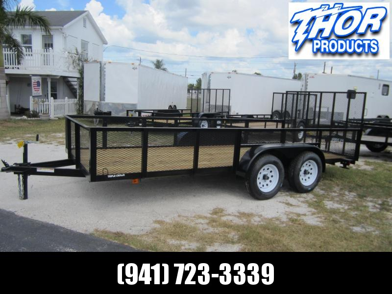 "NEW 6'4"" X 12' TA Utility Trailer w/2' Mesh sides and 1 axle brake and ramp"