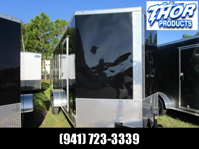 NEW 7x16 Enclosed Trailer BLACK 7' Interior Height for UTV hauling w/Ramp and side door!!