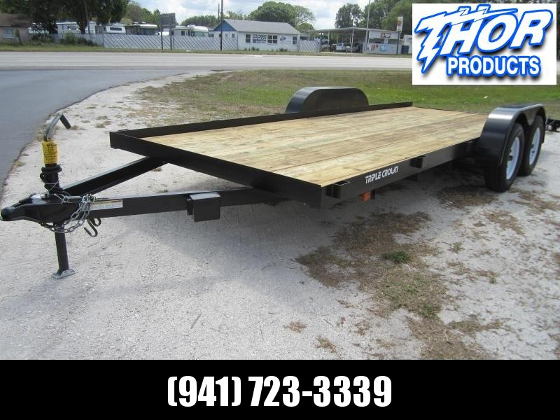 NEW 7X18 7K Race Car Hauler Drag UTV Side ATV Open Utility Cargo Trailer w/Ramps & Removable Fender
