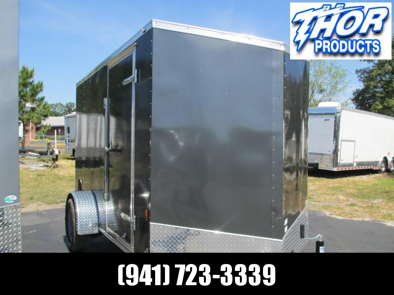 NEW 6X12 WEDGE NOSE .030 CHARCOAL TRAILER W/SIDE DOOR  AND REAR RAMP 1 PIECE ROOF