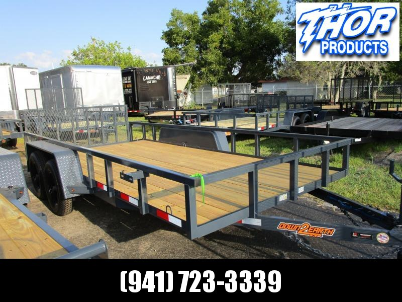 "6'10"" x 14 TA Utility Trailer W/2 axle brakes Ramp Tube Top GRAY LED Lights 2' dovetail"