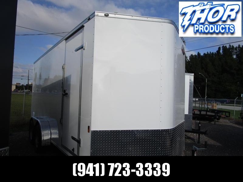 NEW 7X16 TA Trailer V-nose Ramp White with 6 inches of extra height