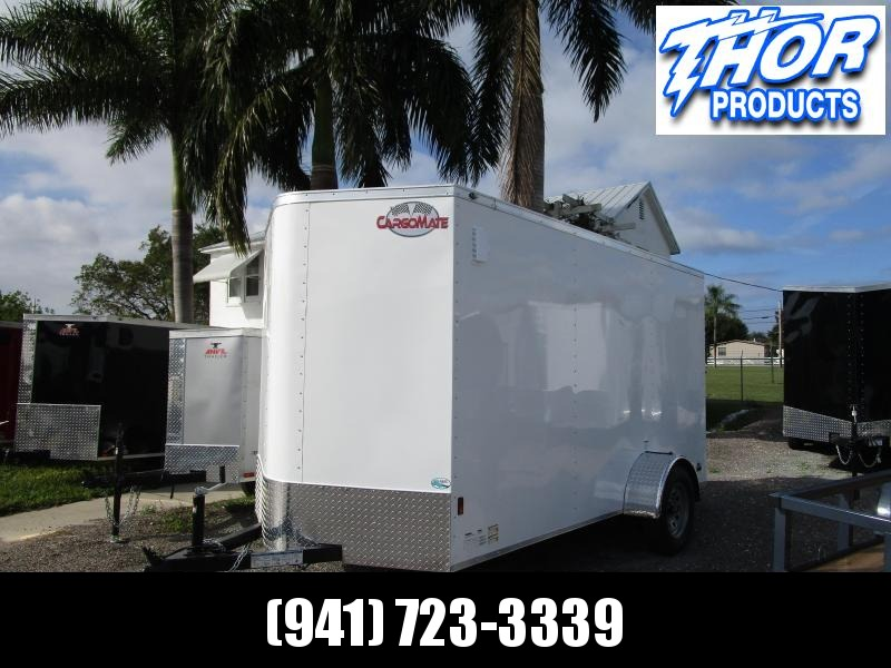6X12 SA WHITE TRAILER W/SIDE DOOR  AND REAR RAMP