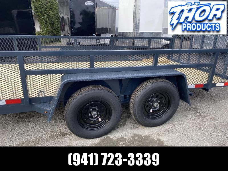 "NEW 6'4"" x 16' TA Utility Trailer Tube top GRAY Black wheels W/RADIAL TIRES 2' MESH SIDES"