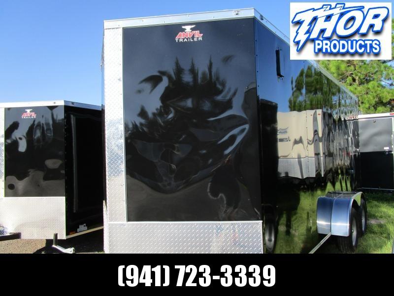 "NEW 7 x 14 TA Enclosed Trailer V-nose Black w/Ramp door 6'6"" Int Ht"