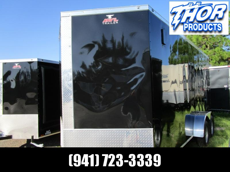 "NEW 7 x 14 TA Enclosed Trailer V-nose Black w/Ramp door 6'6"" Int Ht"