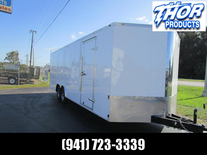 8.5 X 24 10K Car / Racing Trailer .030 WHITE w/ extended tongue IN STOCK!!